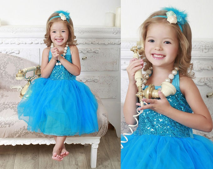Turquoise Baby Girls Tulle and Sequine Dress, PICK COLOR: Turquoise, Royal Blue, Red, Pink, Champagne, Aqua
