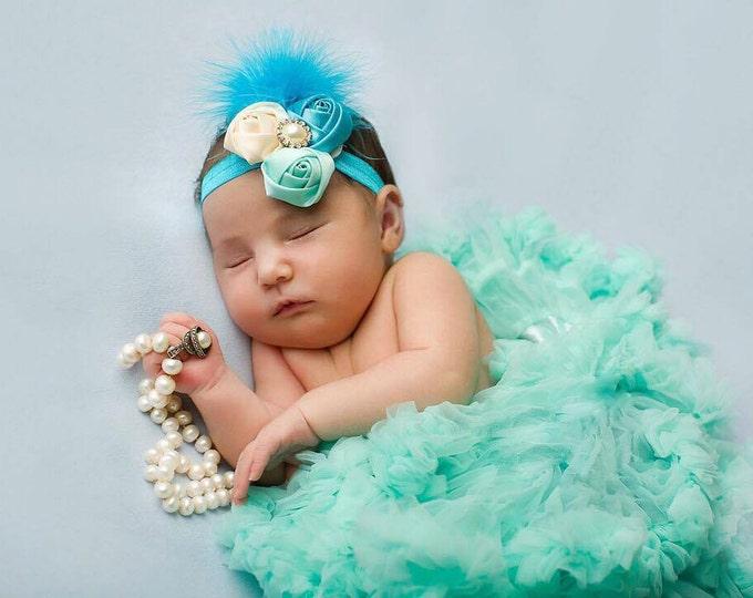 Aqua Baby Girls Pettiskirt Tutu and Headband set, photo prop, birthday tutu, baby girls tutu, newborn tutu, feather headband, light blue