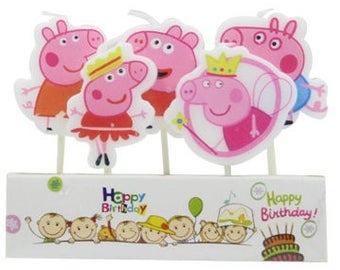 Cute Peppa Pig Candle 5pcs|Animal theme party|Prince boy Princess girl 1st first birthday|Baby shower decoration|Centerpiece cup cake topper