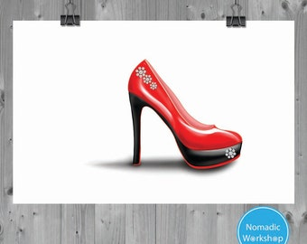 Digital Print -Red High Heel -Art print –Fashion illustration –Red Show –Shoe art -Instant download 2 sizes Tabloid and Letter -Shoe drawing