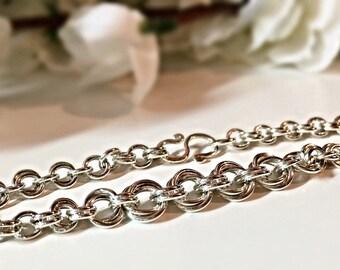Sterling Silver Bracelet, Gift For Her, Mobius Flower Bracelet, Chain Mail Bracelet, Chainmaille, Silver Chainmail, Handmade Silver Bracelet