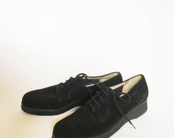 Black Feragamo Suede Creepers Loafers Oxfords