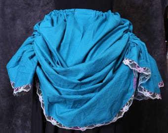 Aqua bustle with multi color lace