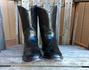 Justin Black Leather Cowboy Boots Youth Size 3 1/2 D Roper Toe 3702Y