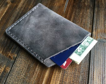 Distressed Leather Minimalist Mens Wallet, Front Pocket Wallet, Leather Cardholder, Slim Wallet, Graduation Gift, Gift for Him, Rock Gray