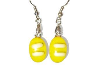 Yellow fused glass earrings