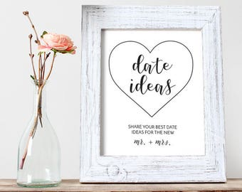 Printable Date Night Card / 8x10 Printable / Date Night Suggestions / Date Jar Ideas / Favorite Date Nights / Bridal Shower Printable