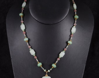 Faceted Green Quartz Necklace