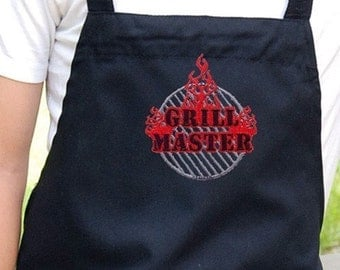 Mens Grilling Apron , Chef Bib Apron with Pockets Embroidered Grill Master Design Mens Chef Apron Can Be Personalized