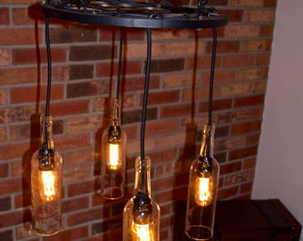 Vintage Wine Chandelier – Clear Bottles