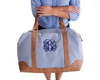 Embroidered Seersucker Weekender Bag - Blue Personalized Weekender Bag -  - Personalized Overnight Bags Personalized Luggage