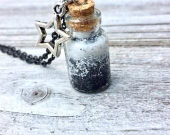 Black Glitter Bottle, Glitter Bottle Necklace, Silver Glitter Necklace, White Bottle Necklace, Glass Bottle Necklace, Star Charm Necklace