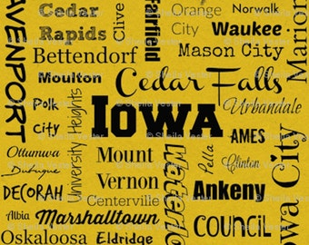 Iowa Cities fabric - by the yard - yellow and black - gray and black