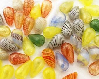 6 px. Assorted Blown Glass Beads, Sunshine Mix, Teardrop, Hollow,  21mm x 13mm