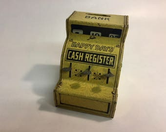 Happy Days Tin Cash Register Bank by J Chein and Company | Tin Toy Bank | Collectible Tin Toy | 1930s Tin Toy | Cash Register Bank