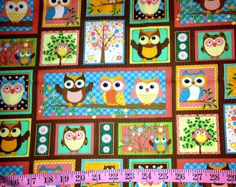 Picture Framed Owl Fabric-By-The-Yard