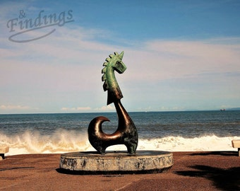 Good Fortune Unicorn Photo, Wall Decor, Bronze Sculture, Blue ocean, Sky, white Foam, Waves Breaking, Anibal Riebeling, Puerto Vallarta Pier