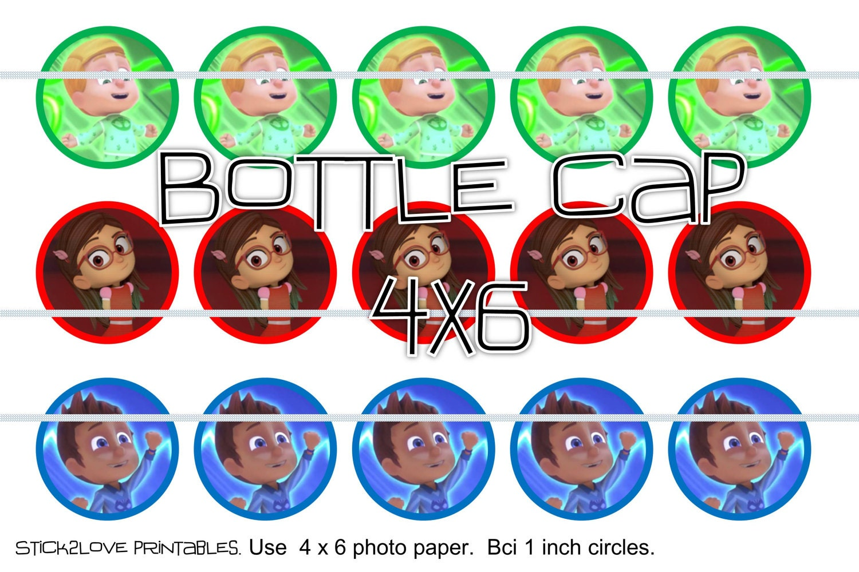 Pj masks kids printables 4x6 1 circles bottle cap for Maschere stampabili