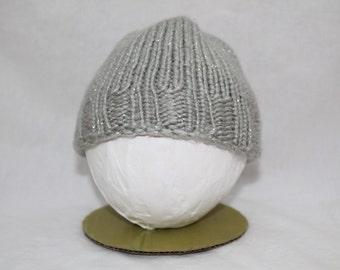 Hand Knitted Infant Hats - Silver/Sparkle