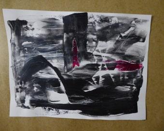 Acrylic Abstract painting, black & white, original art,