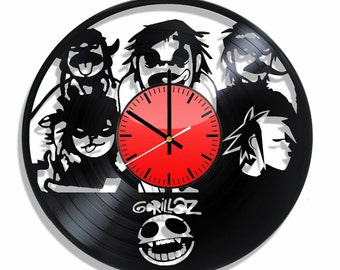 Wall clock Gorillaz, vinyl record wall clock Gorillaz