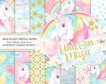 Unicorn Paper Pack, Unicorn Backdrop Rainbows Digital Backgrounds, Seamless Papers, Baby Shower, Planner Stickers, Hand painted papers