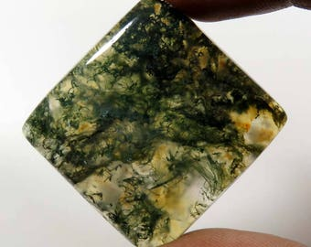 Rarest!! Natural Moss Agate cabochon. 61.50 Cts. moss agate gemstone. Seaweed Moss agate loose gemstone. Moss Agate jewelry use MOS-17