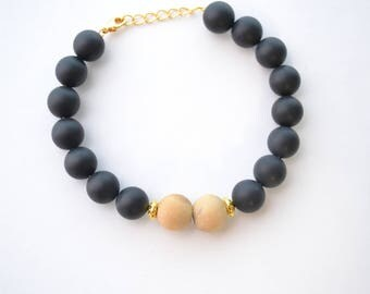 Gold & Black Essential Oil Diffuser Gemstone Bracelet