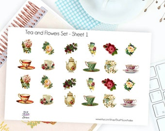 Tea and Flowers Planner Sticker Set