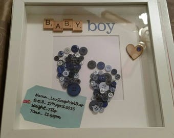 New baby personalised box frame