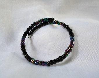 Memory Wire Multi Color Glass Bead Bracelet