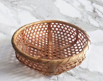 Vinatge Woven Cane Bowl
