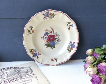 SHABBY old plate French Sarreguemines rustic earthenware France Lorraine campaign rustic décor french Vintage plate flowers