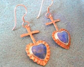 Artisan Southwest Lapis Heart Earrings in Rustic Forged Copper