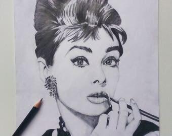 Drawing of Audrey Hepburn Breakfast at Tiffanys