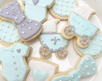 Blue and Gray Baby Shower Cookies, Baby Boy, Baby Shower Desserts, Baby Shower Favors, Expecting Mom, One Dozen, Sugar Cookies