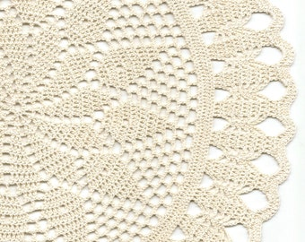 Large Lace Crochet Doily Cream Handmade Cotton Handcrafted Round Doilies Crocheted Centrepiece Lacy Home Decor Wedding Decorative Bohemian
