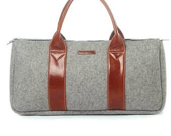 "Kobe Small - Merino Wool Men's Black Duffle Bag ""Handcrafted"" With 100% Merino Wool Felt & Genuine Italian Leather"