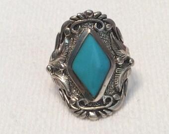 Beautiful Ornate Large Navajo Turquoise Ring Women or Men Super Nice Details Big Bold Sigend SC Silver Cloud Size 11 1/2