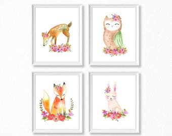 PRINTABLE, Woodland Nursery Art, Floral Animals Nursery Prints, INSTANT DOWNLOAD, Owl fox bunny deer Watercolor Floral Woodland Set of 4