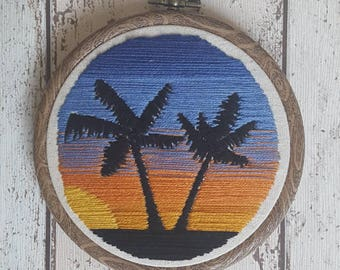 Hand Embroidered Sunset & Palm Trees Scene - 4 inch diameter - Wall Art - Gifts - Embroidery Art