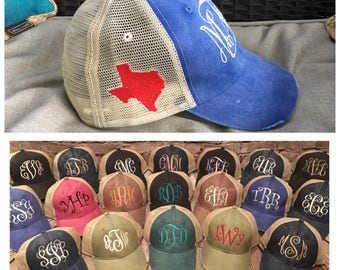 Monogram hat with solid filled state of texas on side, monogram hat, texas, texas state, state