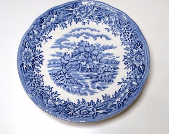 5 1/2 inch Tea Cup Saucers Colonial Village Blue Salem China Company