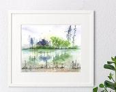 Original watercolor painting, Landscape painting,watercolor landscape,handmade,abstract island, green peaceful islandhouse gift