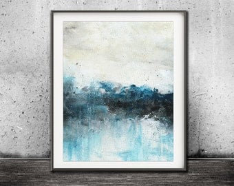 Printable art digital print download abstract landscape print painting blue art wall decor modern design poster contemporary artwork horizon