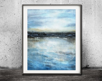 Blue print digital download printable art digital print abstract landscape print art painting wall decor seascape modern design artwork
