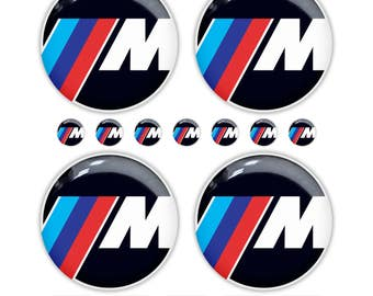 16зс BMW M 3d Epoxy Resin Domed Stickers Rims Wheels Key Fob