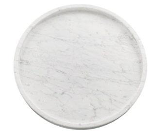 Circular Carrara Marble Tray