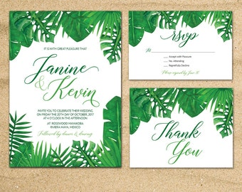 Tropical Wedding invitation, Tropical Palm Leaves invite, Beach wedding, Destination wedding, Green leaves invitation, printable 5x7