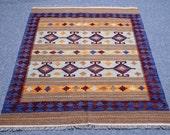 4.11' x 6.6'  kilim handmade, wool, geometrical, area rug, oriental, light lime, navy blue, light brown, purple borders rug